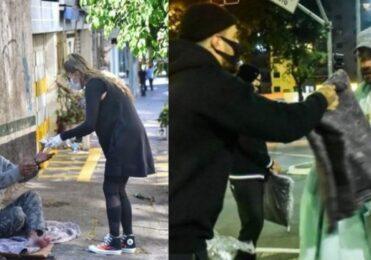 Galisteu e Felipe Titto distribuem marmitas e cobertores em SP – Celebridades – iG