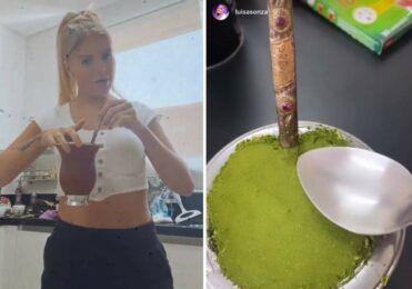 Luiza Sonza usa Bomba para fazer chimarrão com iniciais dela e de Whindersson Nunes