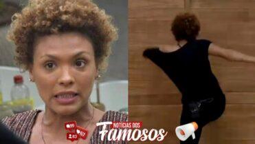 A Fazenda12: Lidi Lisboa chutando a porta do quarto
