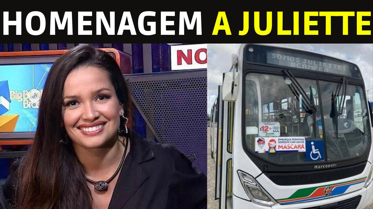 BBB 21 Juliette Recebe linda homenagem em 390 onibus de Joao Pessoa na Paraiba