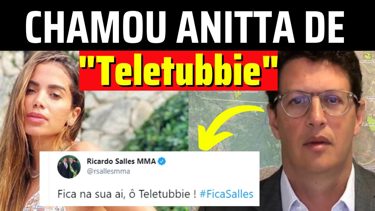 Anitta pede #ForaSalles e ministro responde a chamando de 'Teletubbie'